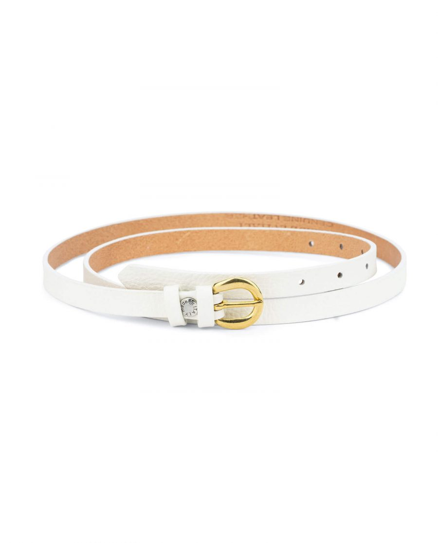 womens white belt with gold buckle – 15 mm solid brass WTDO15GDBS 1