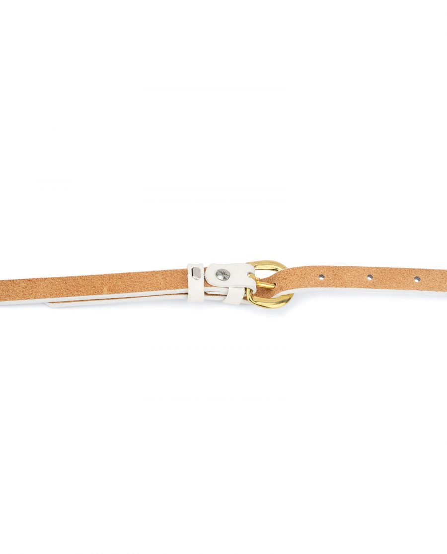 womens white belt with gold buckle – 15 mm solid brass WTDO15GDBS 4