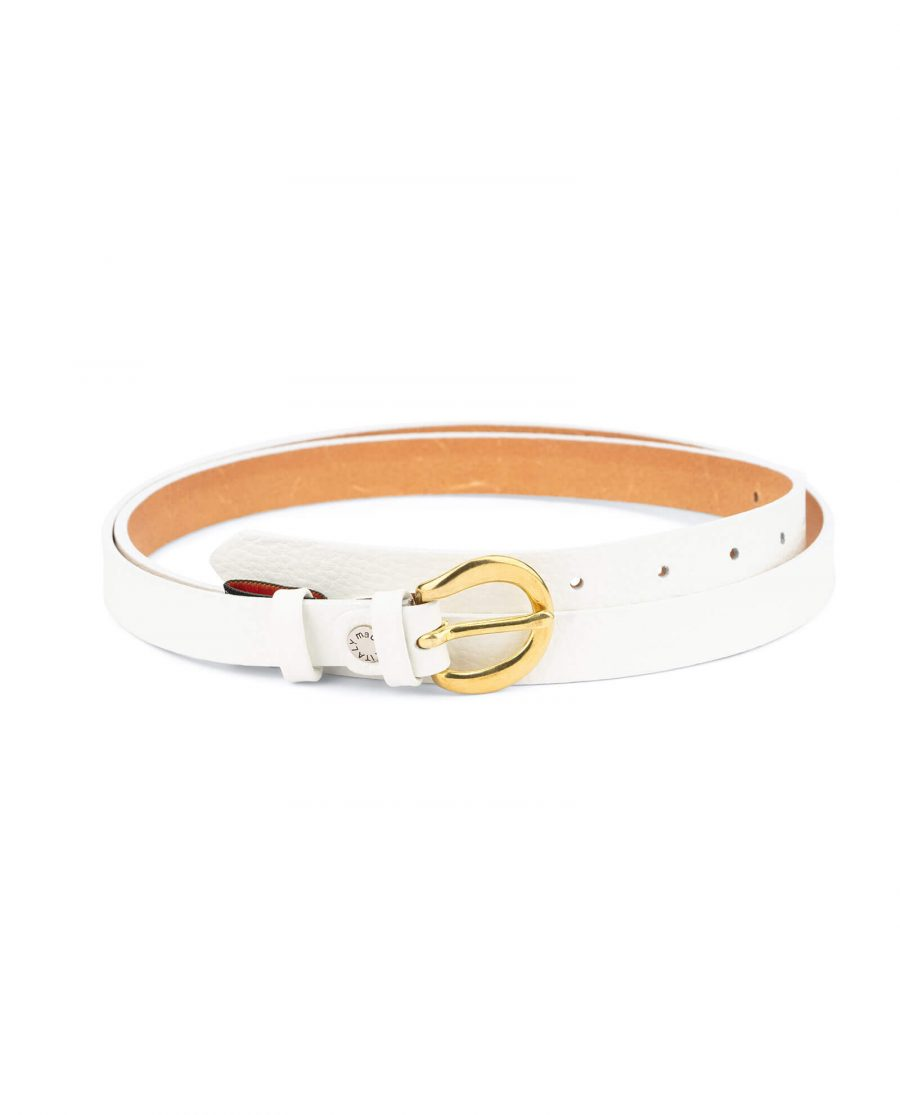 womens white belt with gold buckle – 20 mm brass WTDO20GDBS 1
