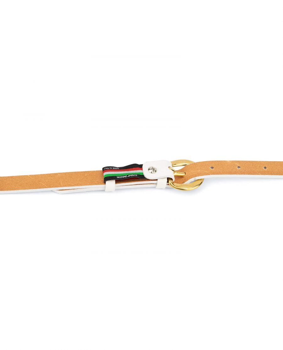 womens white belt with gold buckle – 20 mm brass WTDO20GDBS 4