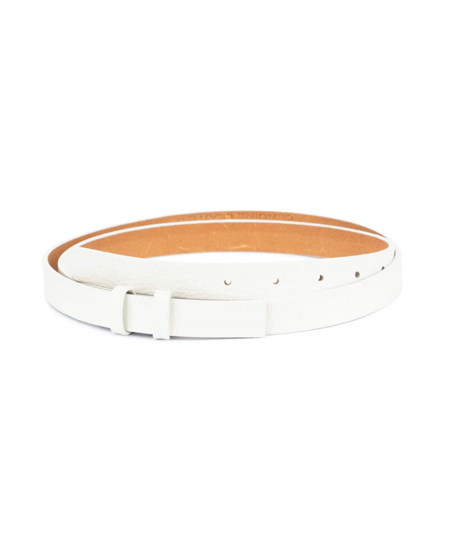 womens white leather belt strap – 20 mm replacement WHST20DOLL 1