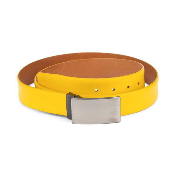 yellow belt men – real leather 3 5 cm 1