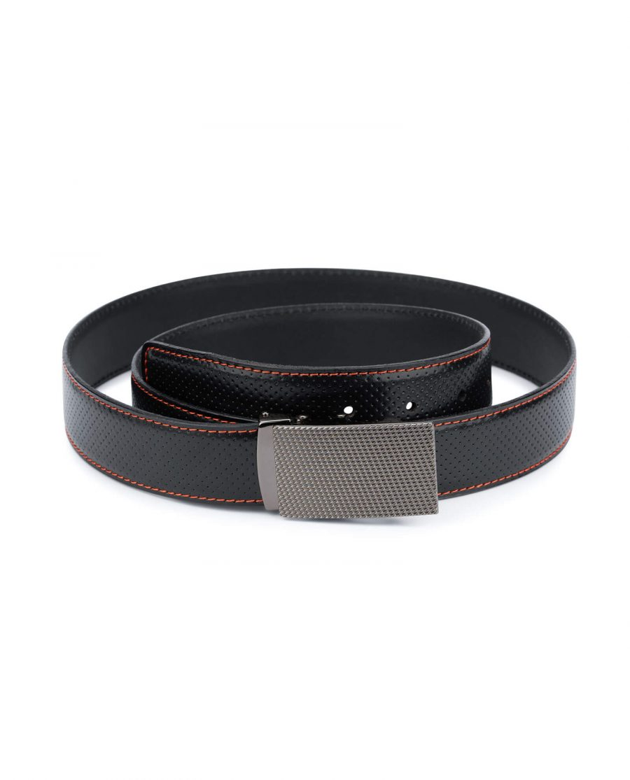 Black comfort click belt – perforated leather 2
