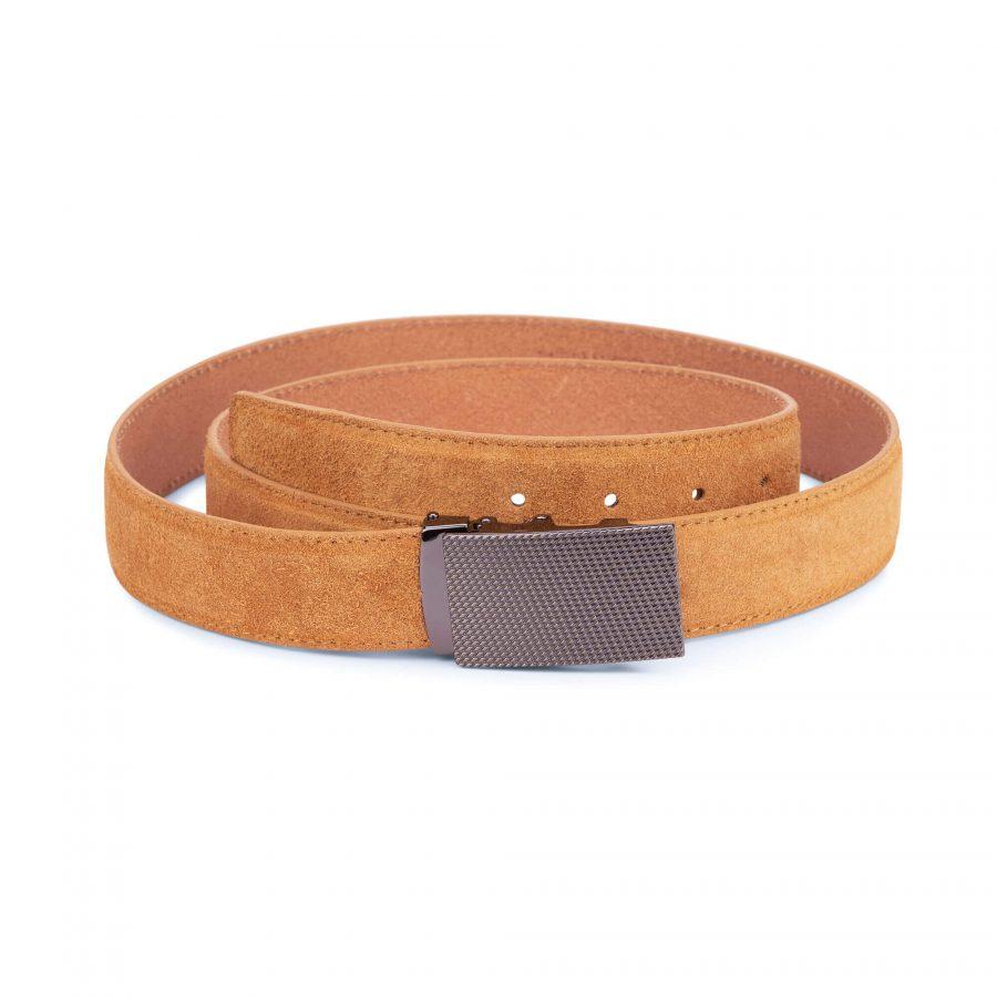 Camel suede comfort click belt 1