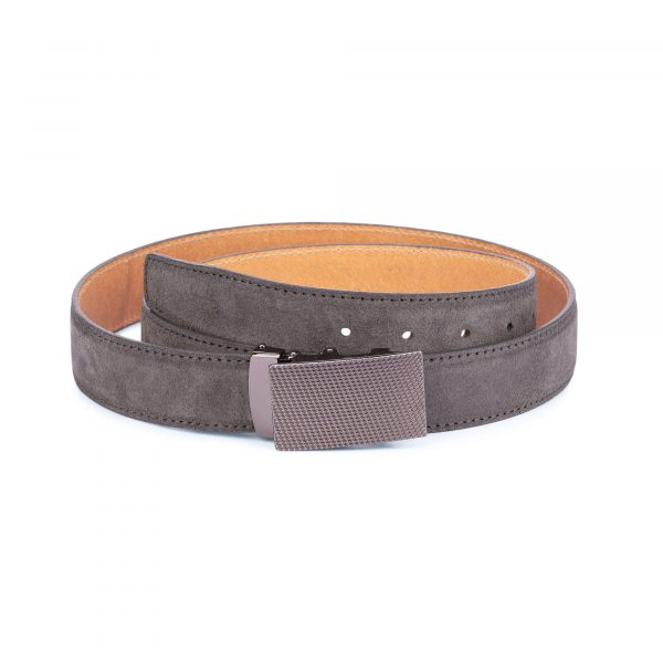 Mens Grey suede automatic buckle belt 1