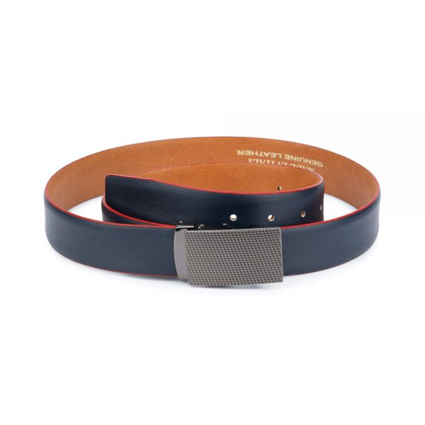 Ratchet navy leather mens belt 11