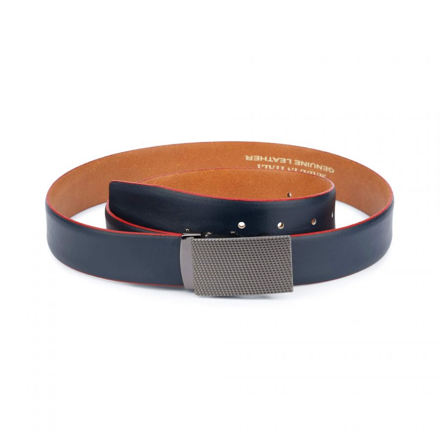 Ratchet navy leather mens belt 11