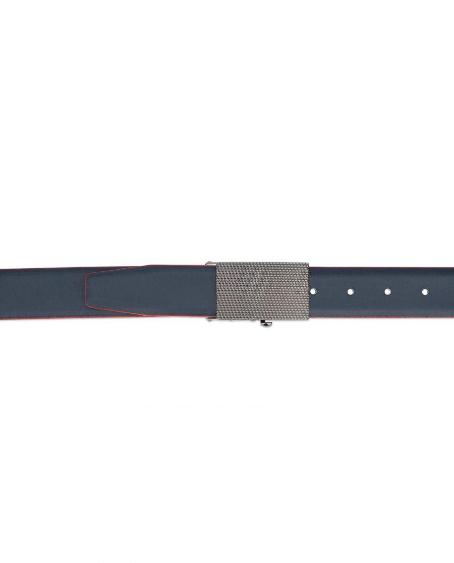 Ratchet navy leather mens belt 14