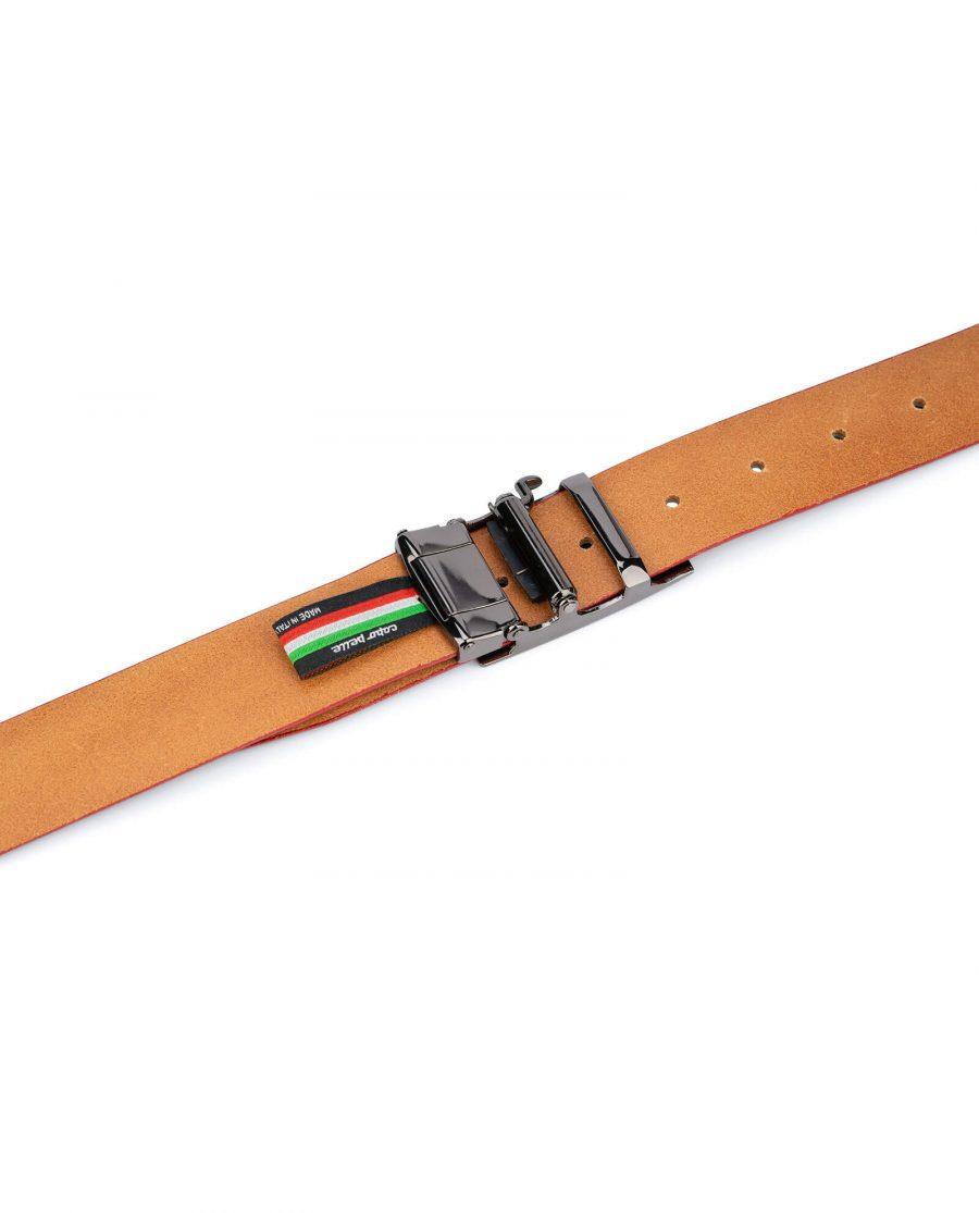 Ratchet navy leather mens belt 15