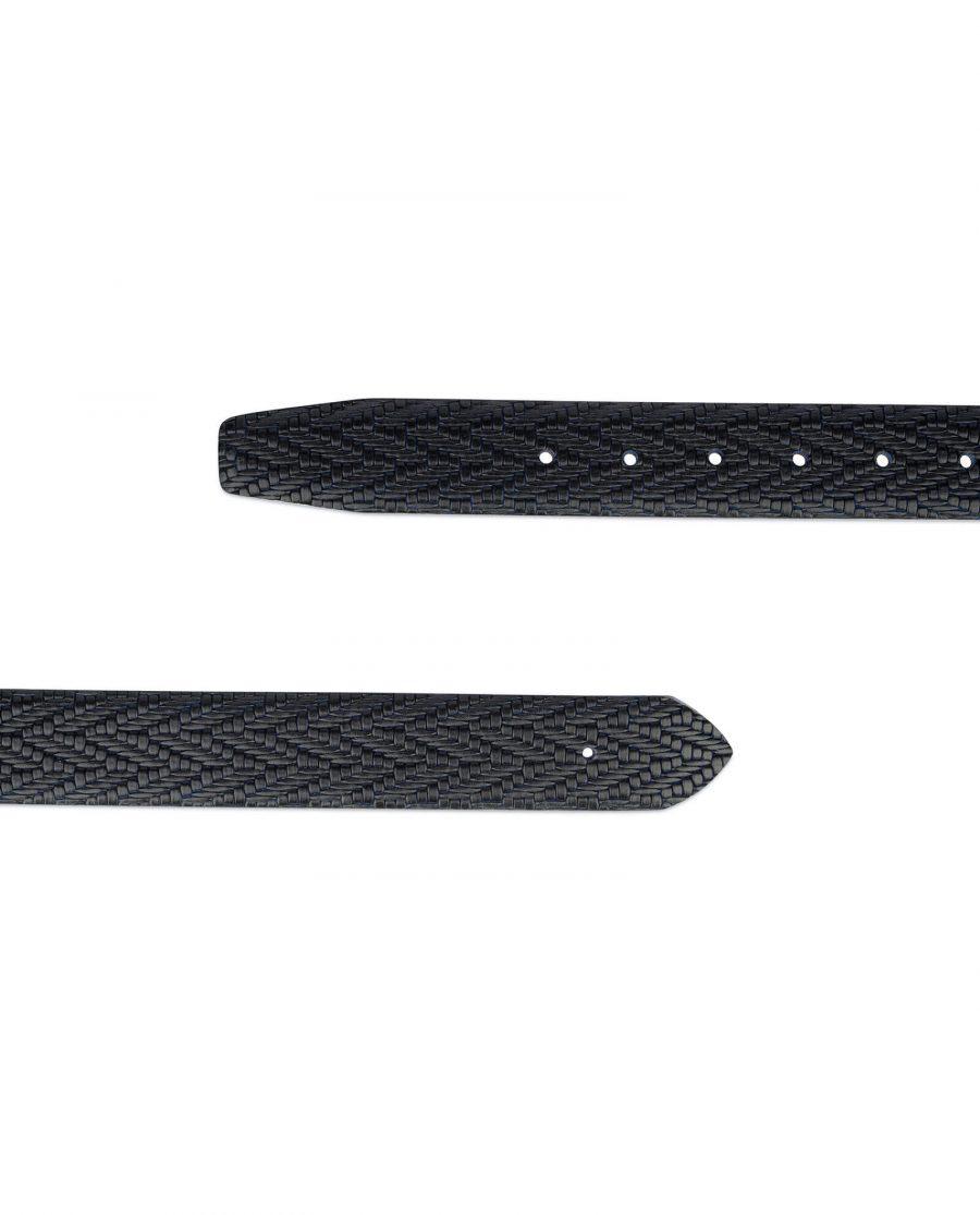 black blue mens leather belt no buckle 3