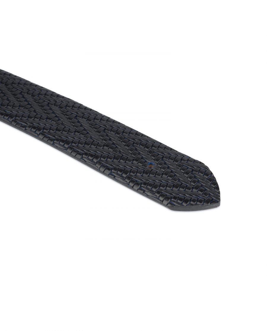 black blue mens leather belt no buckle 4