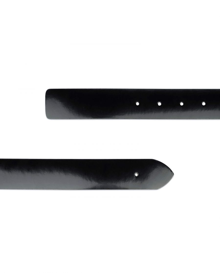 black patent leather belt no buckle 3