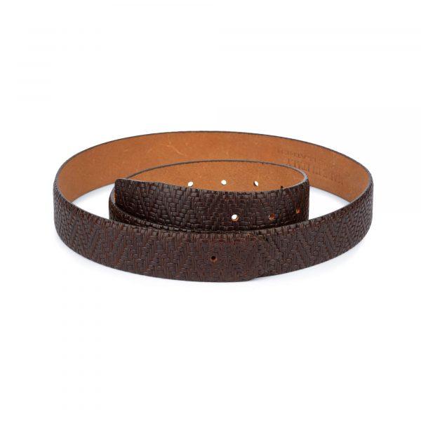 brown mens no buckle belt 1 2