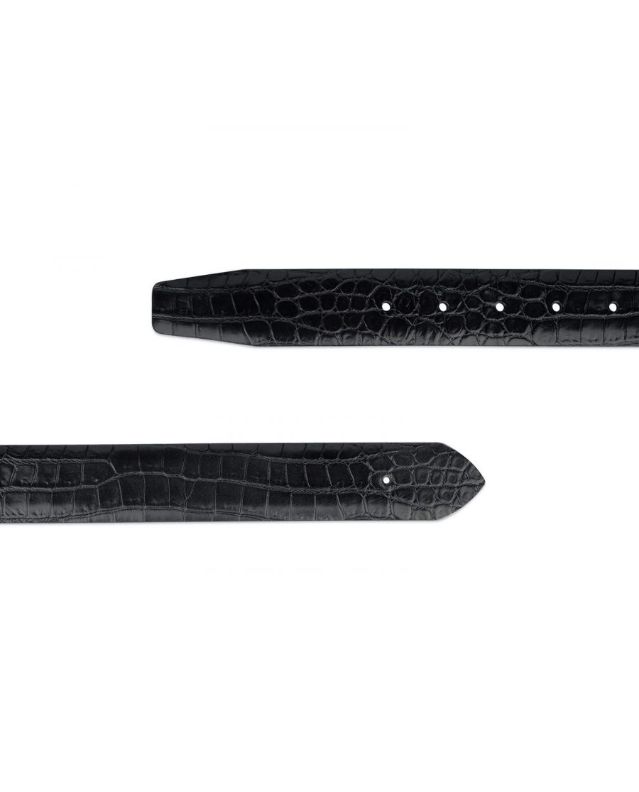 croco embossed leather belt without buckle 3