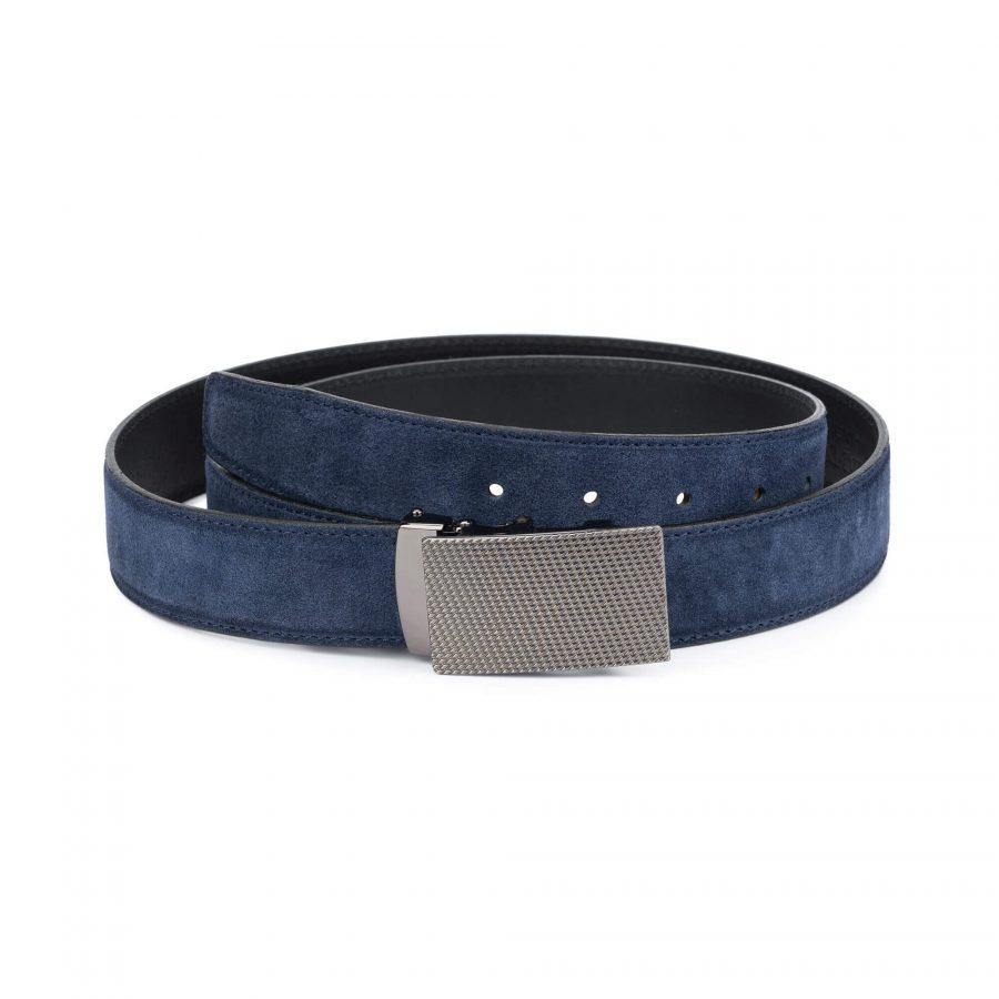 mens blue suede belt with slide buckle 1