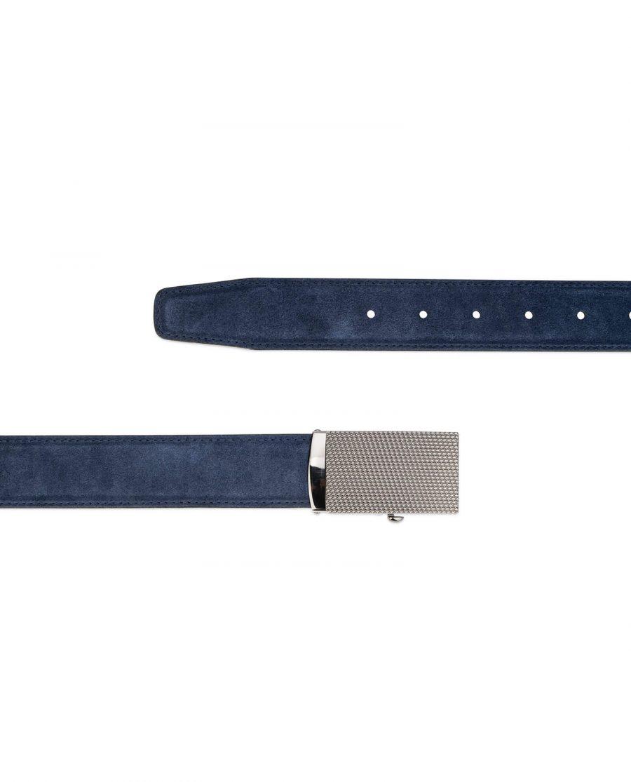 mens blue suede belt with slide buckle 3
