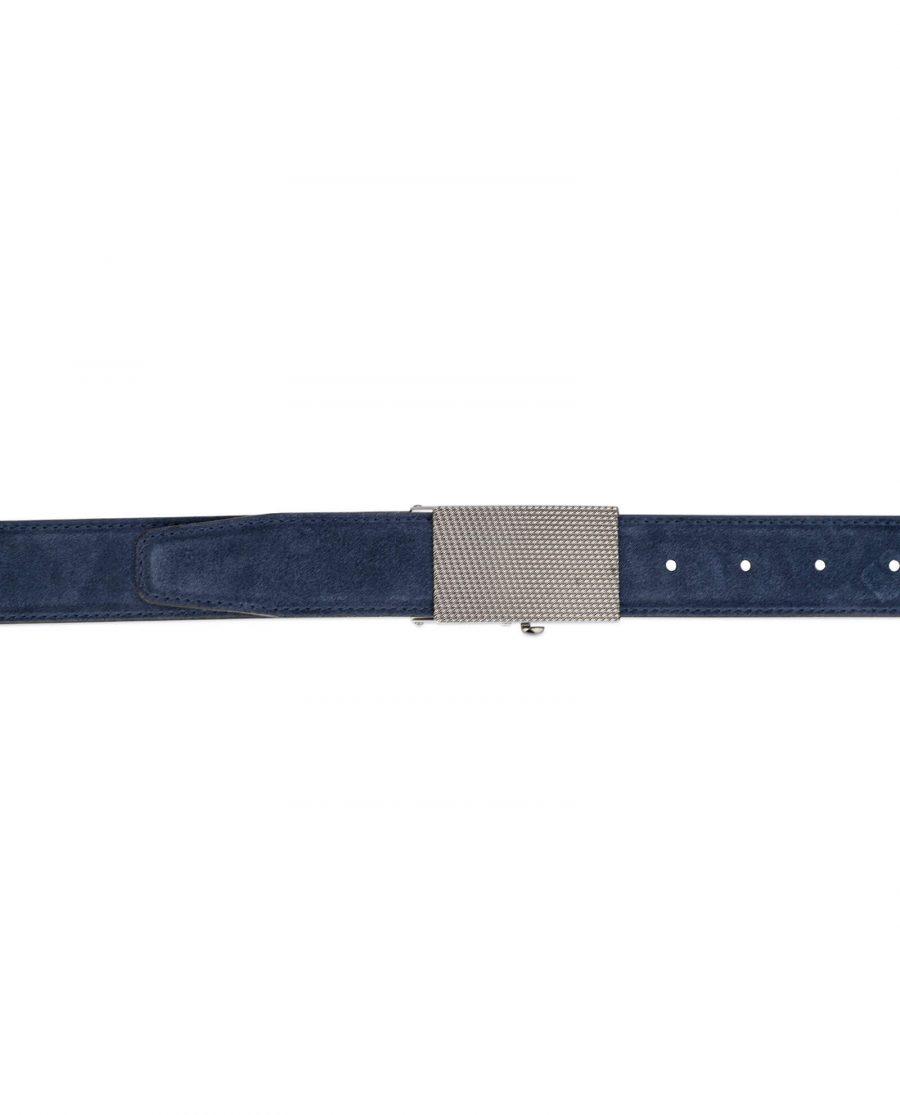 mens blue suede belt with slide buckle 4