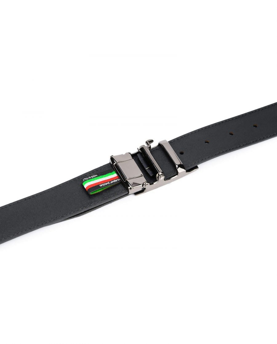 mens blue suede belt with slide buckle 5 1
