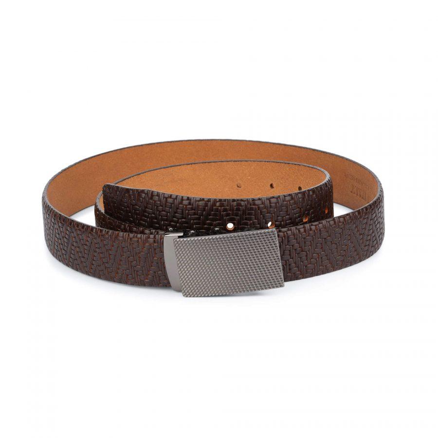 mens brown belt with slide buckle 1
