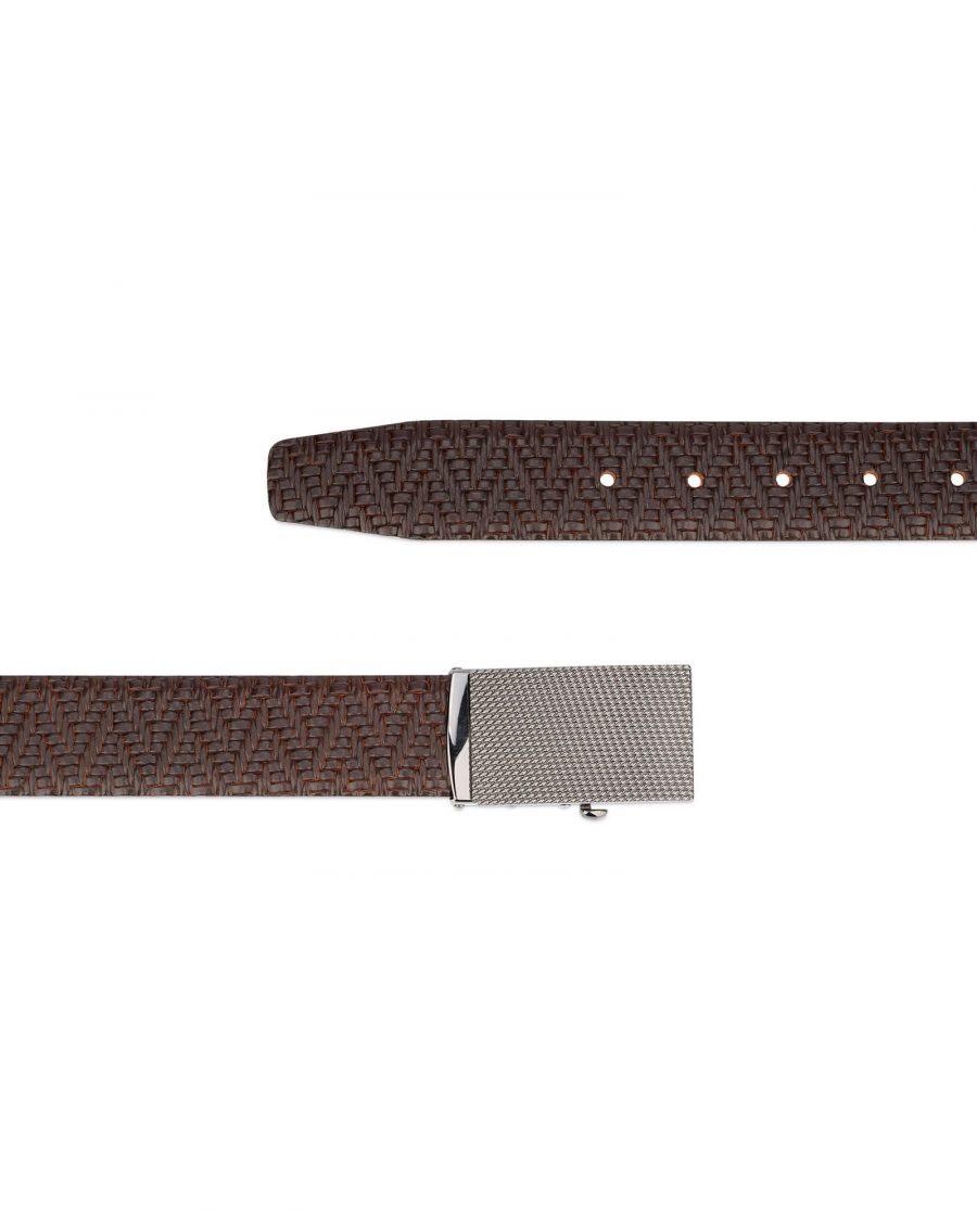 mens brown belt with slide buckle 3