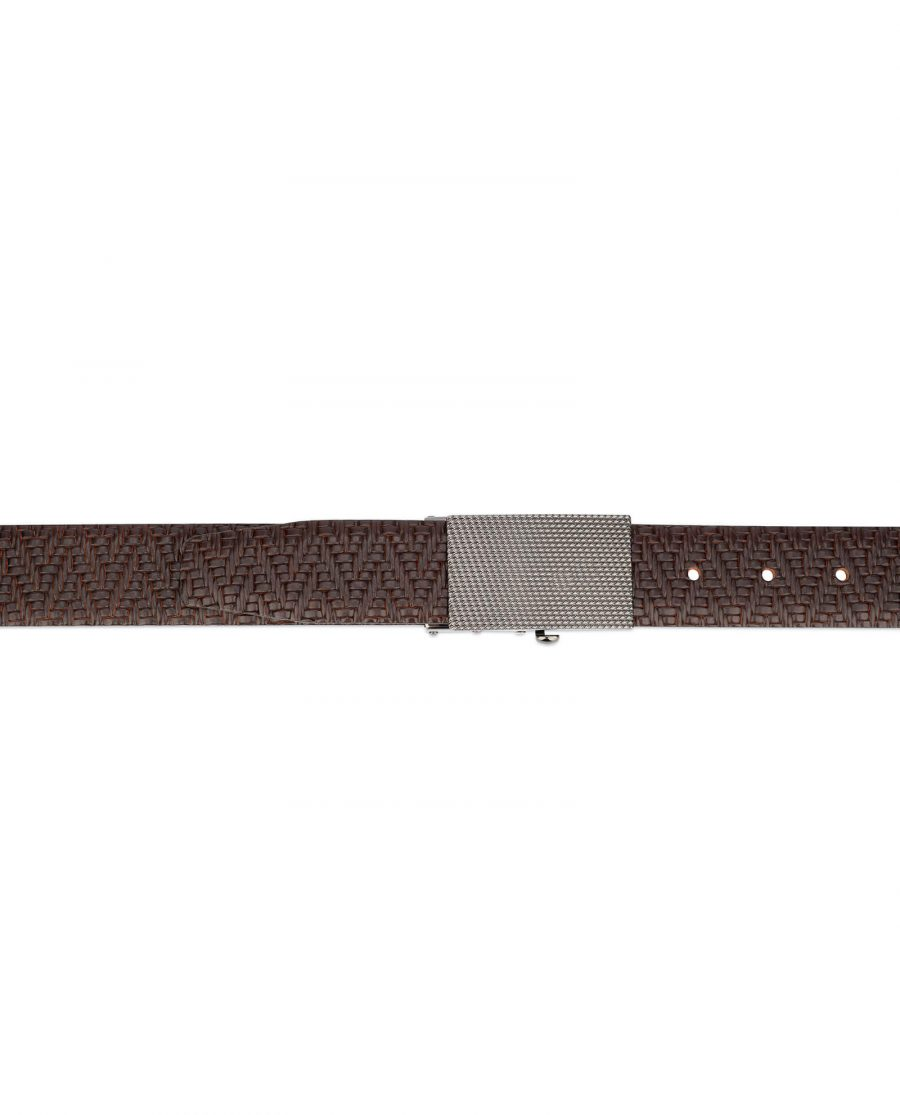 mens brown belt with slide buckle 4