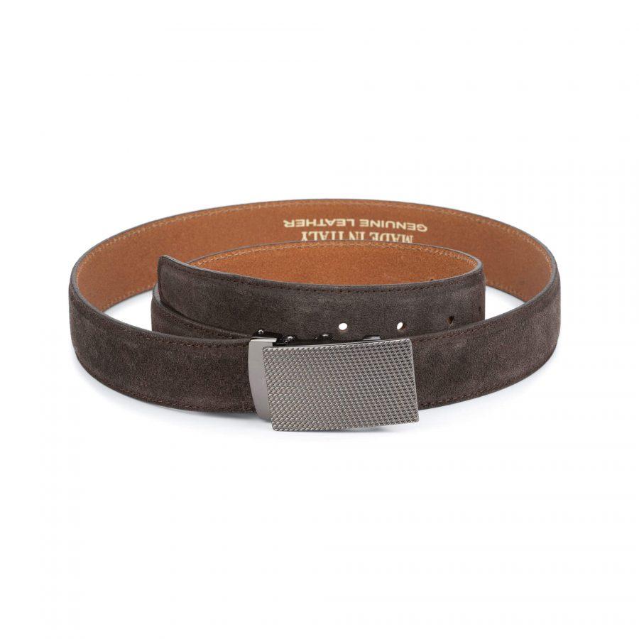 mens brown suede belt with slide buckle 1
