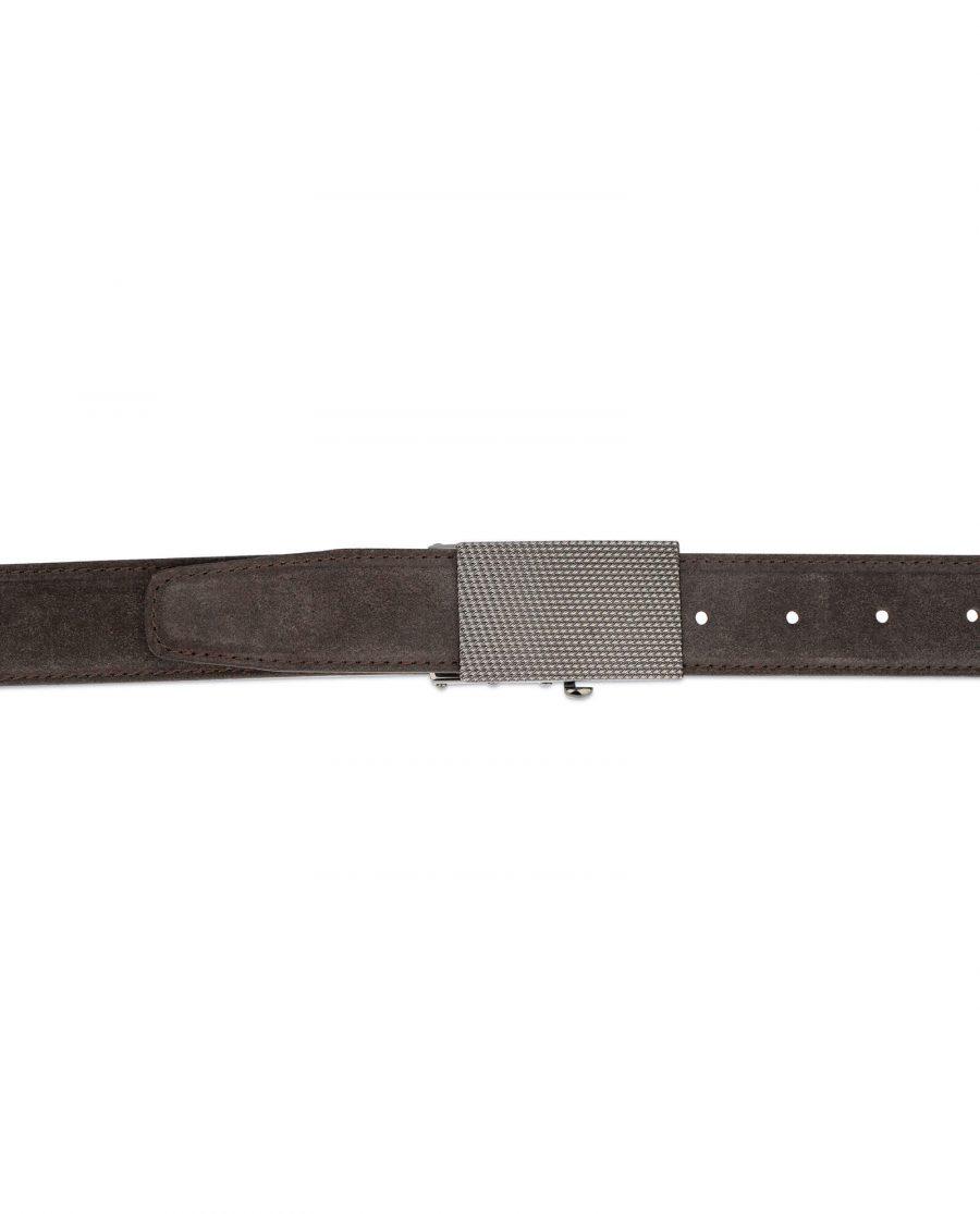 mens brown suede belt with slide buckle 4