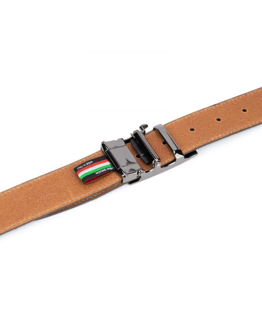 mens brown suede belt with slide buckle 5