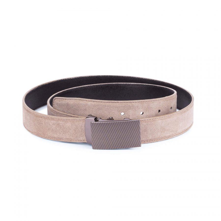 taupe suede comfort click belt 12