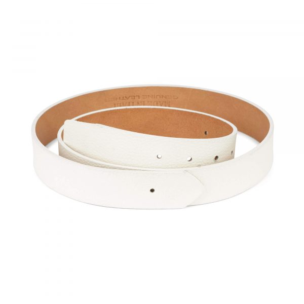 white leather belt with no buckle 35 mm 1