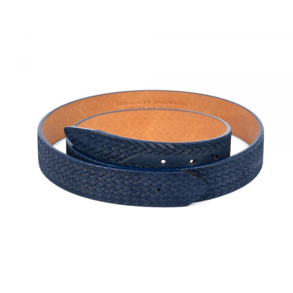 woven blue suede leather belt no buckle 1