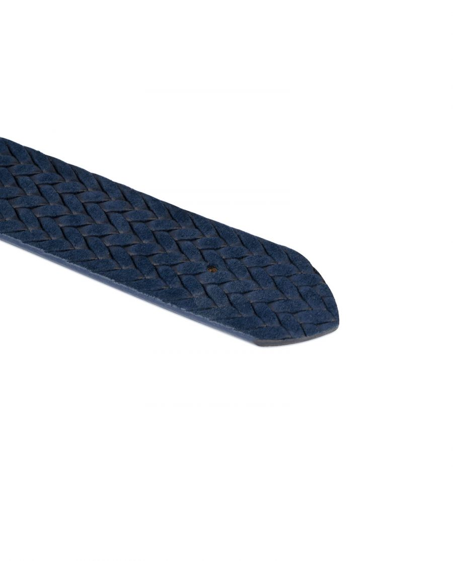 woven blue suede leather belt no buckle 4