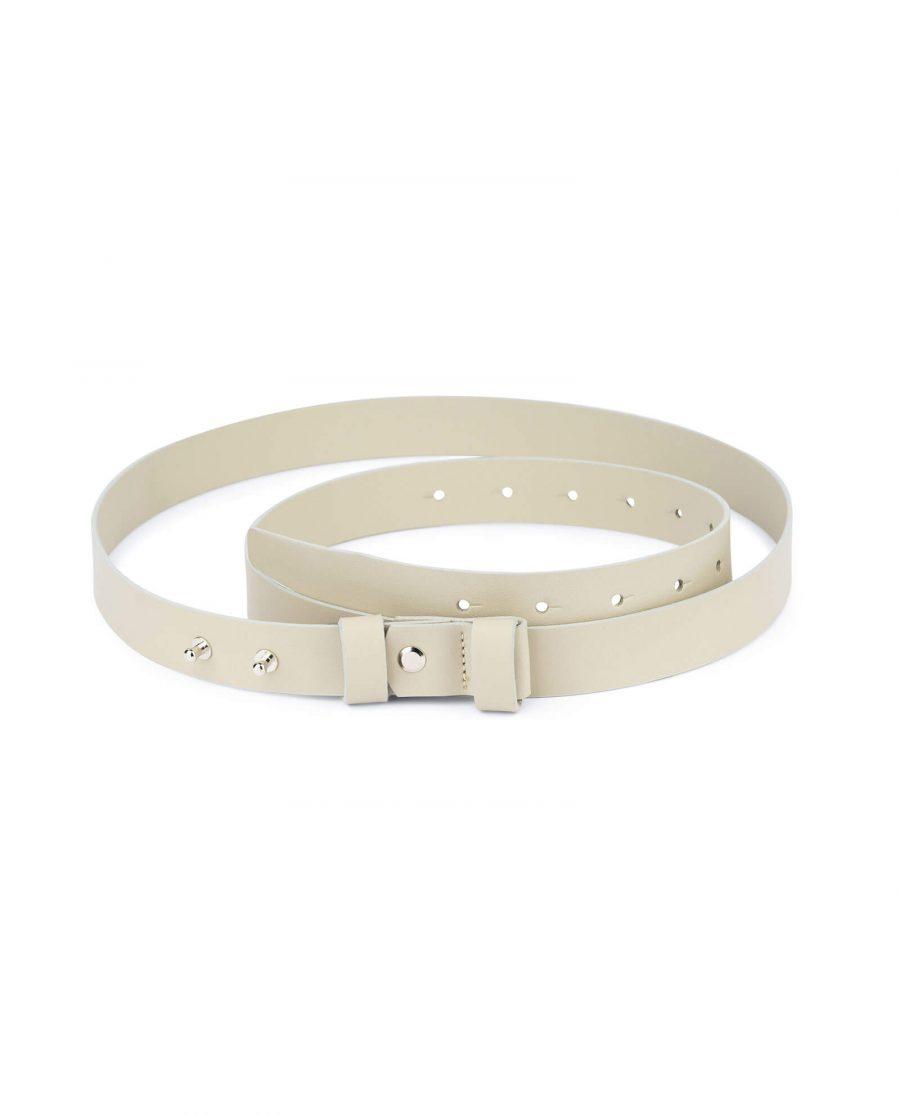 1 inch womens beige belt without buckle 1