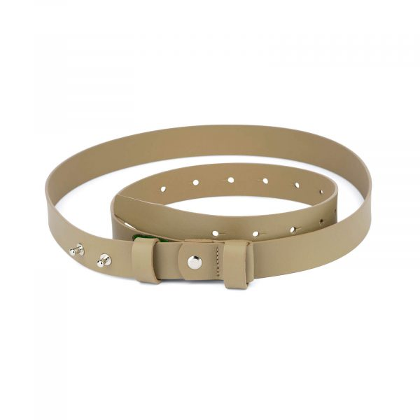 1 inch womens khaki belt without buckle 1