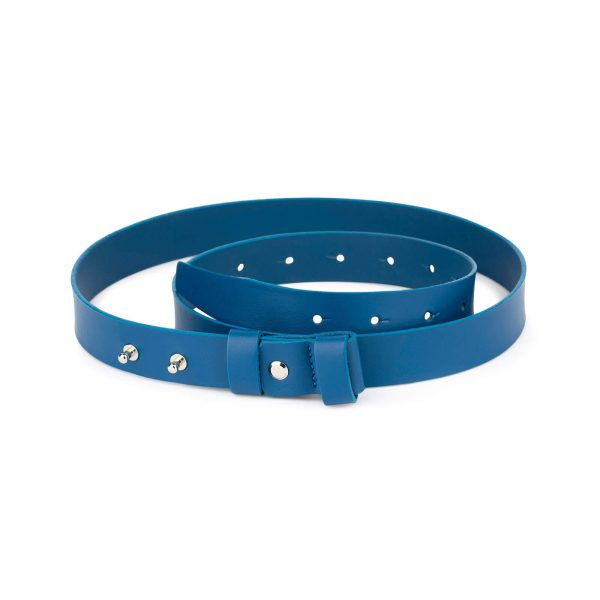 1 inch womens royal blue belt without buckle 1