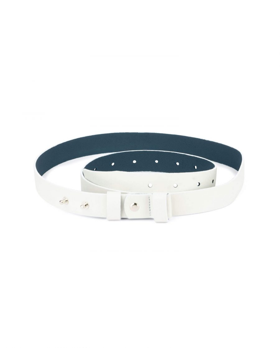 1 inch womens white belt without buckle 1