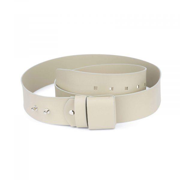 2 inch womens beige belt without buckle 1