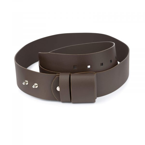 2 inch womens brown belt without buckle 1