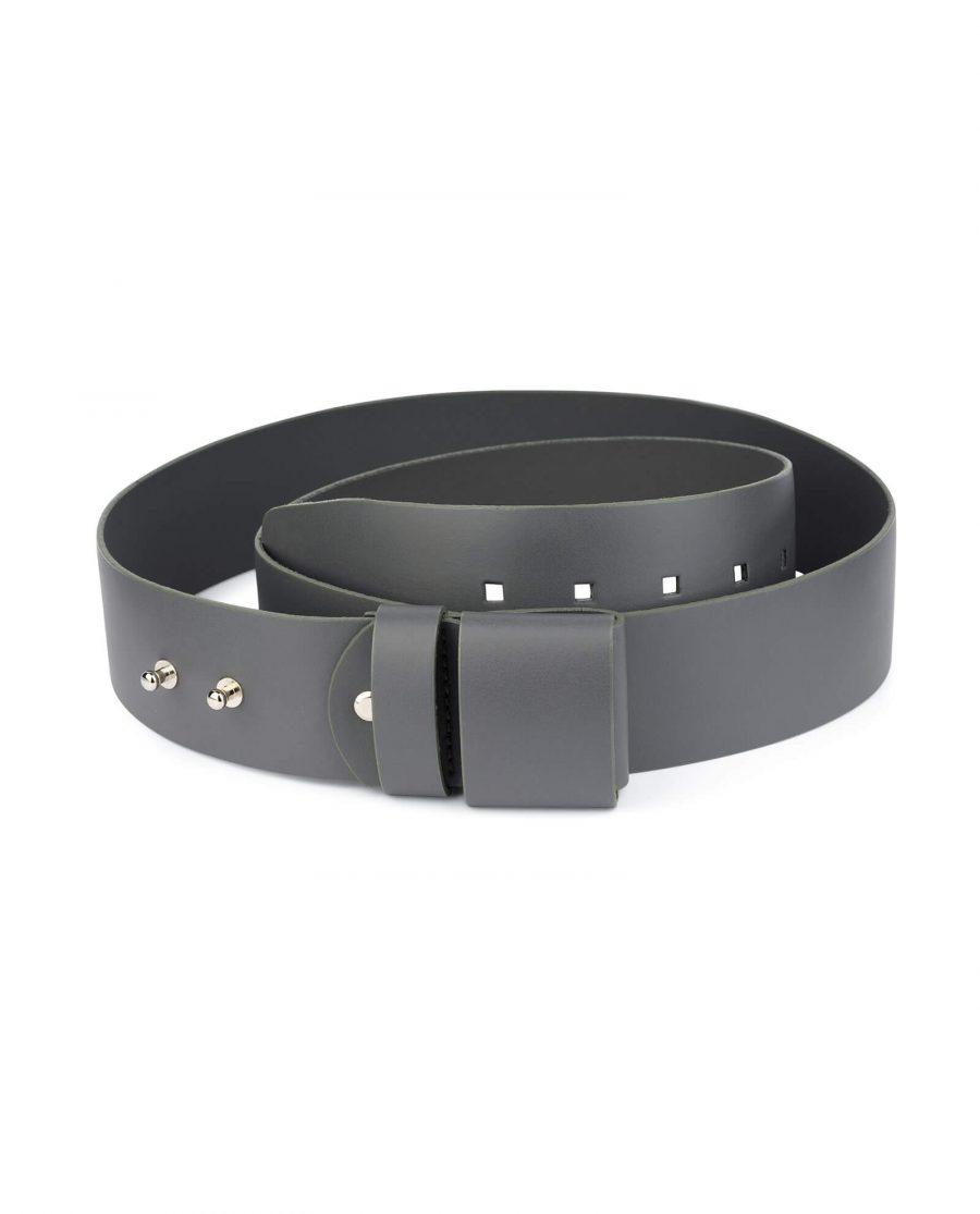 2 inch womens gray belt without buckle 1