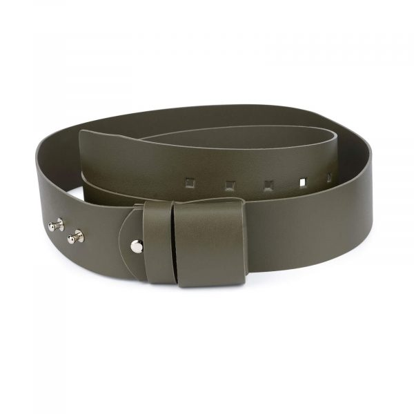 2 inch womens green belt without buckle 1