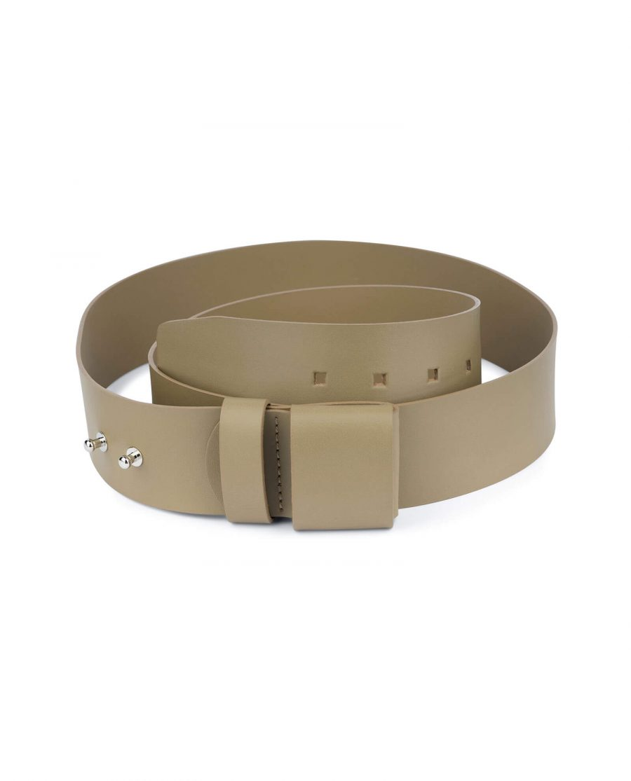2 inch womens khaki belt without buckle 1