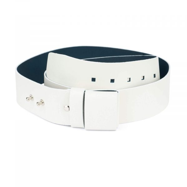 2 inch womens white belt without buckle 2