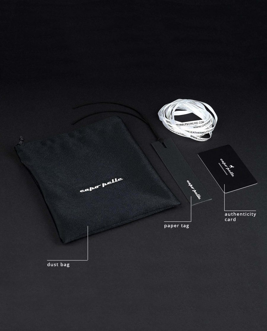CapoPelle Dust bag Authenticity card Paper Tag Leather Belts Online Collage