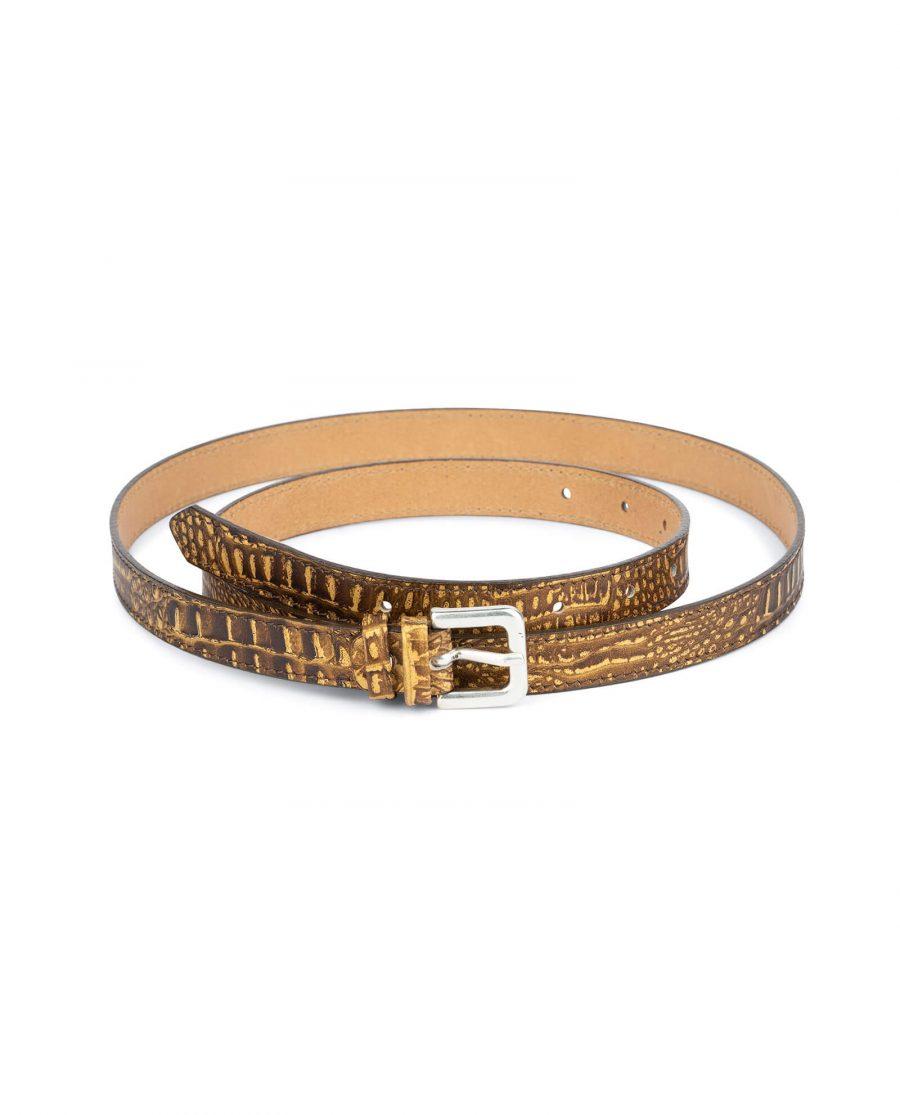 brown croco belt for women 2 0 cm 1