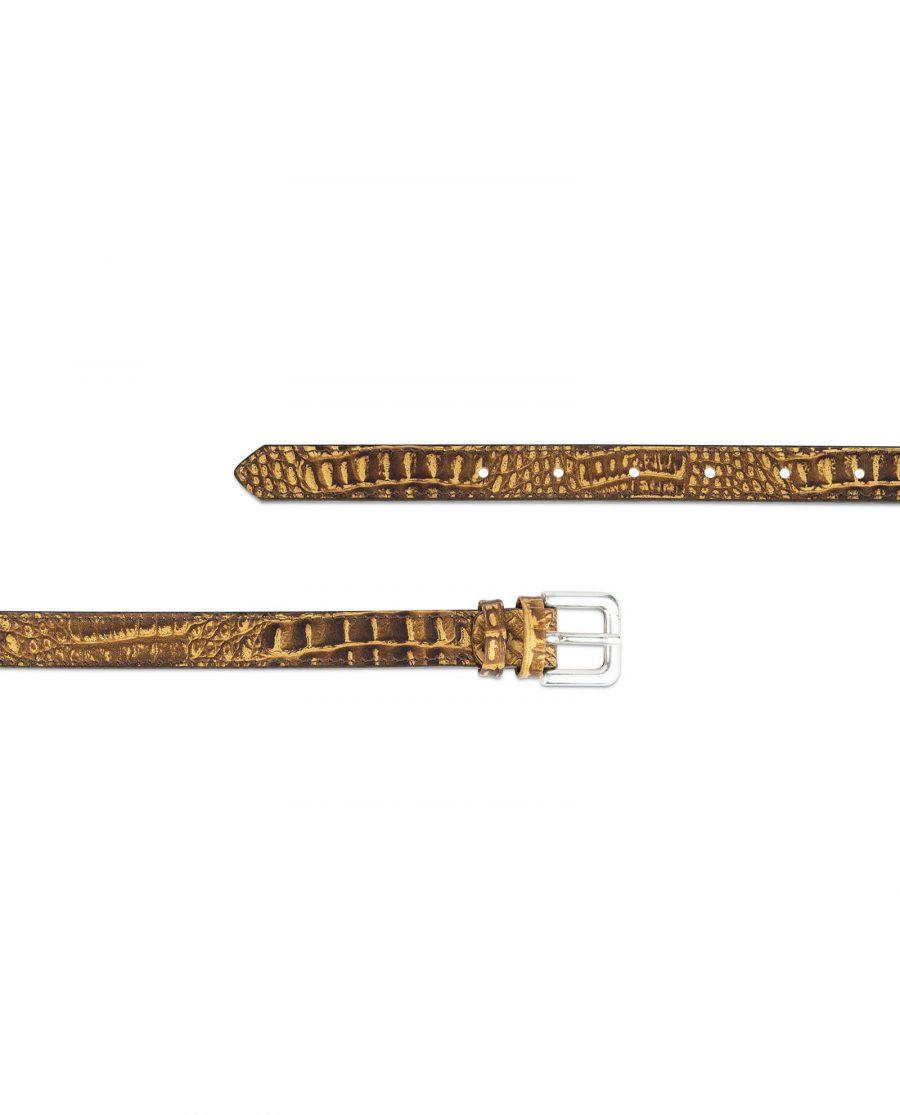 brown croco belt for women 2 0 cm 2