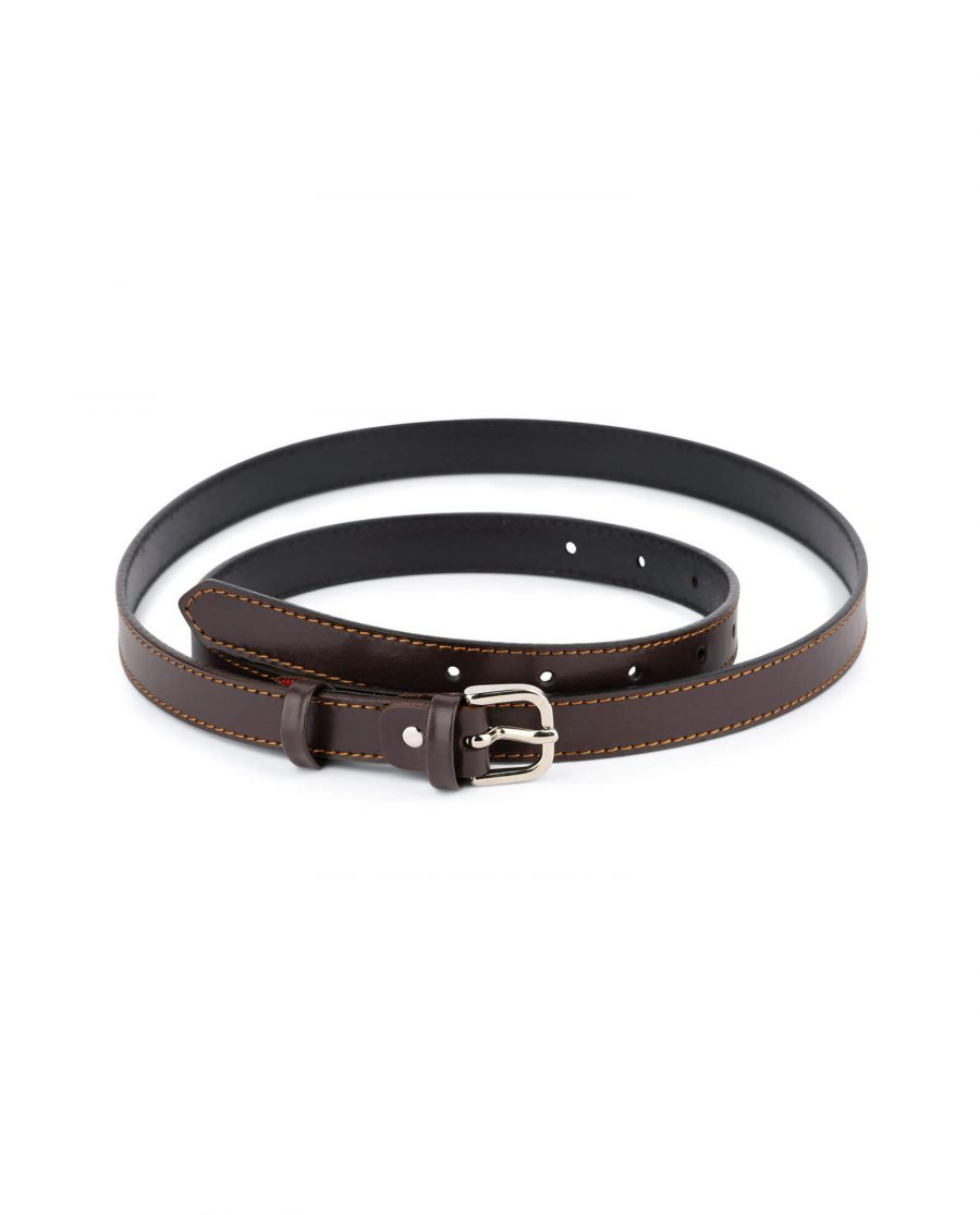 womens brown belt real leather 2 0 cm 1
