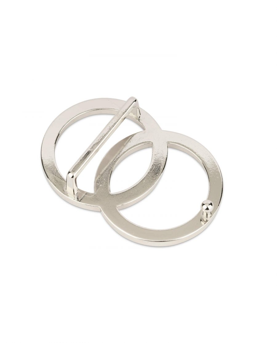 womens two circle belt buckle silver 38 mm 2