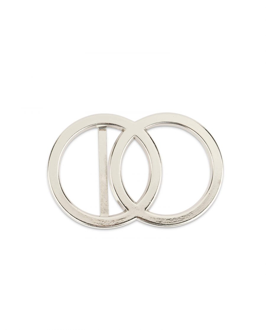 womens two circle belt buckle silver 38 mm 3
