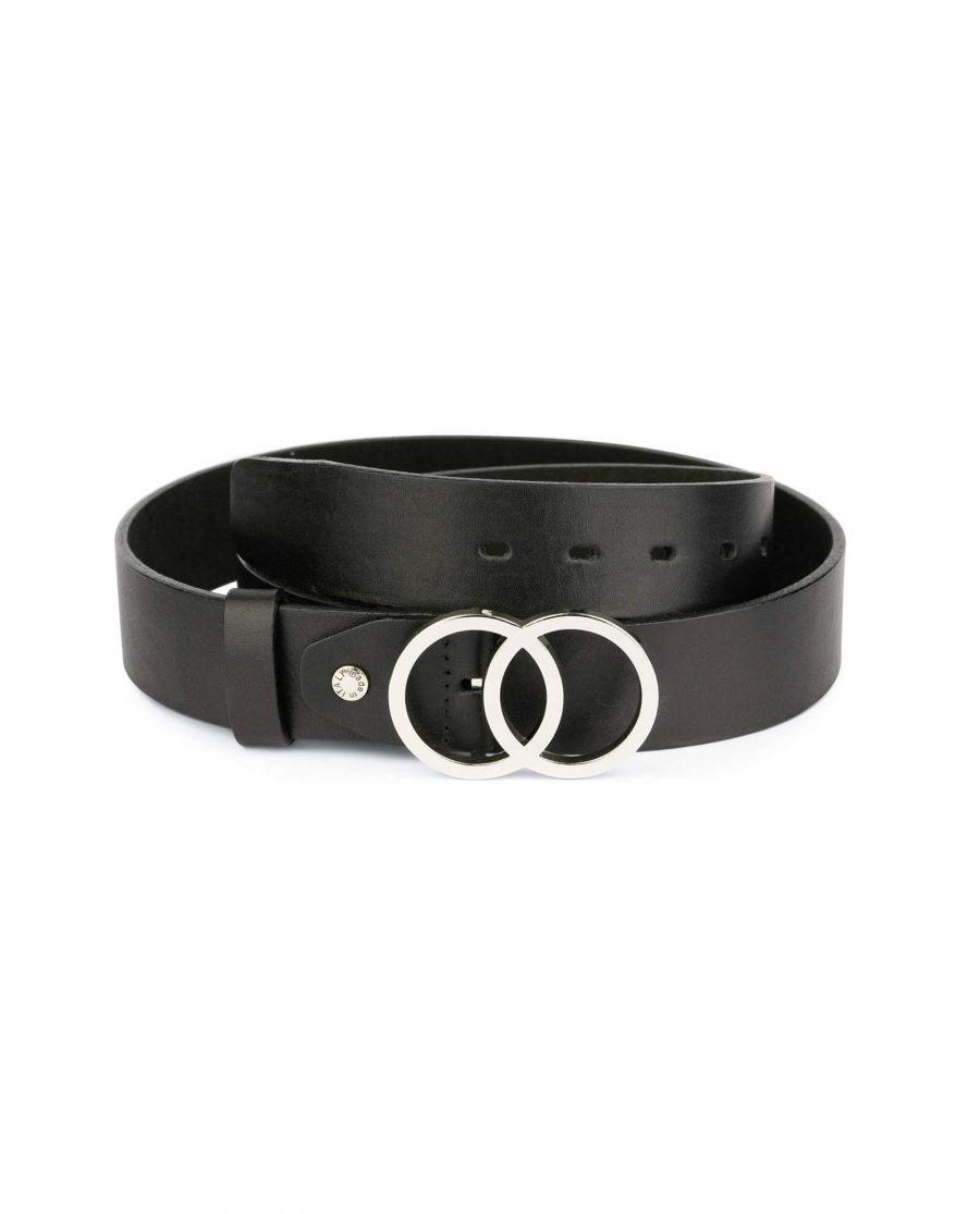 Double circle belt black full grain leather 1