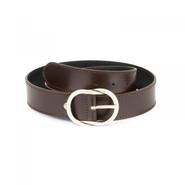 brown womens belt with rounded buckle 1